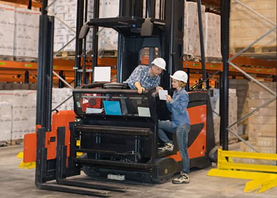 forklift training on a VNA truck